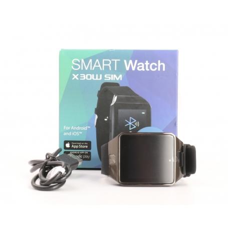 X-Watch X30W Smartwatch Fitness-Uhr Sportuhr Metallgehäuse schwarz Kunststoffarmband schwarz (232163)