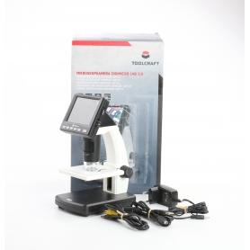 Toolcraft DigiMicro Lab 5.0 USB LCD Mikroskop Monitor max. Vergrößerung 500 Zoom 4fach schwarz weiß (234805)