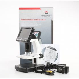 Toolcraft DigiMicro Lab 5.0 USB LCD Mikroskop Monitor max. Vergrößerung 500 Zoom 4fach schwarz weiß (234912)