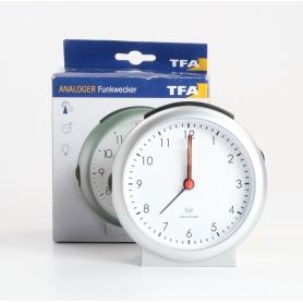 TFA Dostmann 98.1036 Funk Wecker Uhr Snooze-Funktion analog silber (235462)