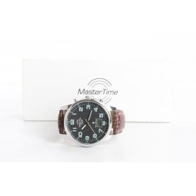 Master Time MTGA-10426-22L Funk Quarz Armbanduhr Herren Leder braun silber (236559)