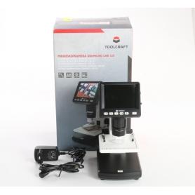 Toolcraft DigiMicro Lab 5.0 USB LCD Mikroskop Monitor max. Vergrößerung 500 Zoom 4fach schwarz weiß (237484)