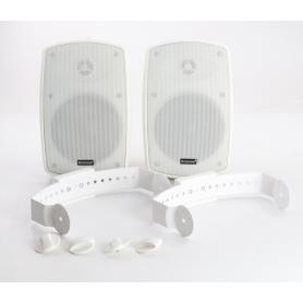 Omnitronic 2 Stück OD-5T ELA-Lautsprecher Wandlausprecherbox 16W 92dB weiß (238676)