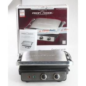 Profi Cook PCKG1029 Elektro Tischgrill Kontakt-Grill 2000 Watt Camping Garten silber (239378)