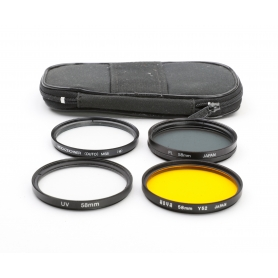 OEM 4x Filter Set 58 mm: Polfilter + UV-Filter + Yellow Filter Y52 (Hoya) + Weichzeichner E-58 (223327)