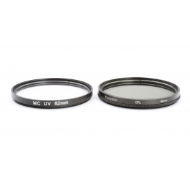 OEM 2x Filter Set 62 mm: Equipster CPL Circular Polfilter + MC UV-Filter E-62 (223316)