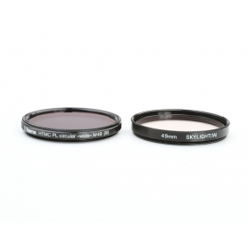 OEM 2x Filter Set 49 mm: Hama HTMC PL-Circular Polfilter (IV) + Skylight (1A) UV-Filter E-49 (223321)