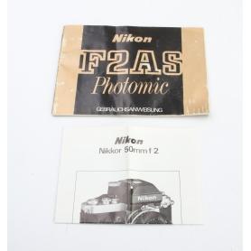 Nikon F2AS Photomic Gebrauchsanweisung Anleitung Deutsche Ausgabe (230613)