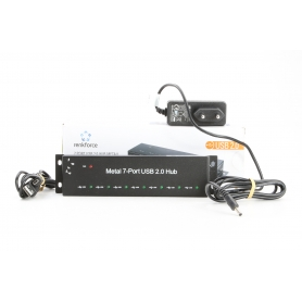 Renkforce RF-4791678 7 Port USB 2.0-Hub Metallgehäuse zur Wandmontage schwarz (231117)