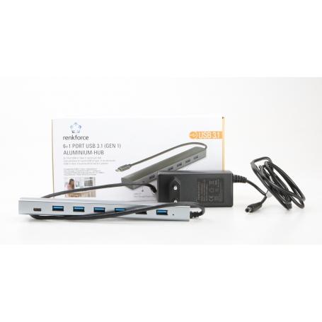 Renkforce RF-3374946 6+1 Port USB 3.1-Hub Pass-Through Stromanschluss silber (231120)