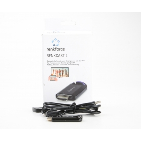 Renkforce renkCast 2 HDMI Streaming Stick Mediaplayer AirPlay Miracast DLNA externe Antenne HDMI WLAN schwarz (231126)