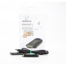 Renkforce renkCast 2 HDMI Streaming Stick Mediaplayer AirPlay Miracast DLNA externe Antenne HDMI WLAN schwarz (231127)